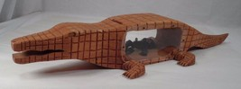 Folk Art Handcarved Wooden Alligator Coin Bank w/ Bawdy Naughty Native i... - $102.42
