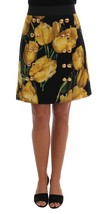 Dolce & Gabbana Multicolor Tulip Print Wool A-line Skirt - $560.00