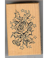 PSX Rubber Stamp  F-3045 Rose & Holly  S2 - $9.74