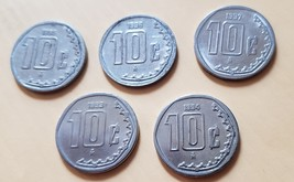 5-coin lot 1993-1997 Mexico 10 Centavos AU - $4.95