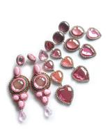 Pink Earrings, Long Earrings, Statement Earrings, Pink Silver Earrings, ... - $57.00