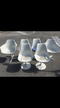 1960s Tulip Chairs Mid-Century Modern SET OF 6 White Seats KNOLL Burk SA... - $1,452.64