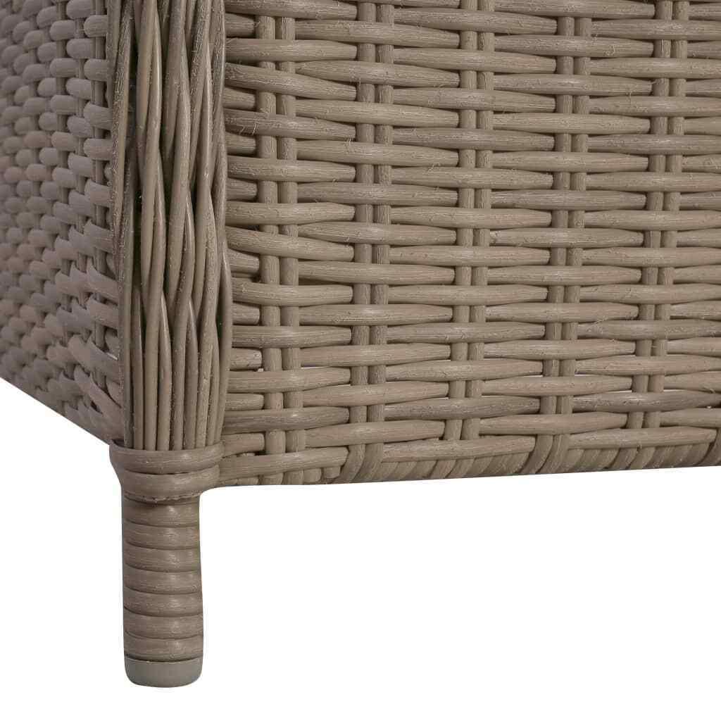 vidaXL 3 Piece Bistro Set w/ Cushions and Pillows Poly Rattan Brown Dinner