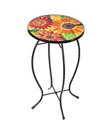 Evergreen Garden Outdoor-Safe Sunflowers Faux Mosaic Glass and Metal Sid... - $48.19
