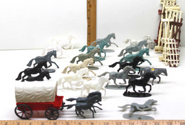 22 Vintage Plastic Toy Horse Pony Lot + Western Stagecoach+ Stock Pen Fe... - $27.07