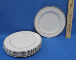 Set 5 Sango Dion Bread Dessert Plates China Pottery Porcelain White Silv... - $13.85