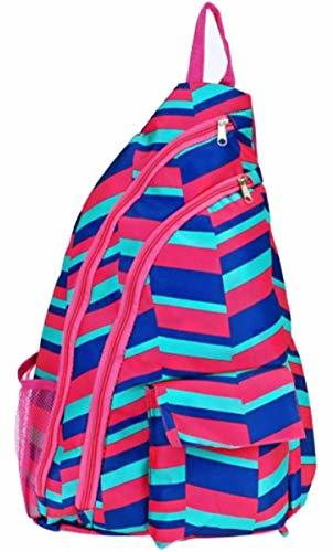 Sling Bag Shoulder Cross Body One Strap Backpack Chest Bag (Fuchsia Pink/Blue)