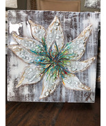 Textured Paint with Glass Colorful Flower/Magnolia, Block Art, Crushed G... - $45.00+