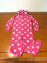 Girls Kids Children's Place Pink Hearts One Piece PJs Pajamas Size Large 10/12 - $9.89