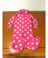 Girls Kids Children's Place Pink Hearts One Piece PJs Pajamas Size Large... - $9.89