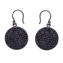 Gorgeous Round Black Spinel Gemstone 925 Sterling Silver Disk Earring SH... - $19.38