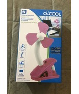 """O2COOL BATTERY OPERATED 4"""" Personal FAN, Pink With CLIP - $12.99"""