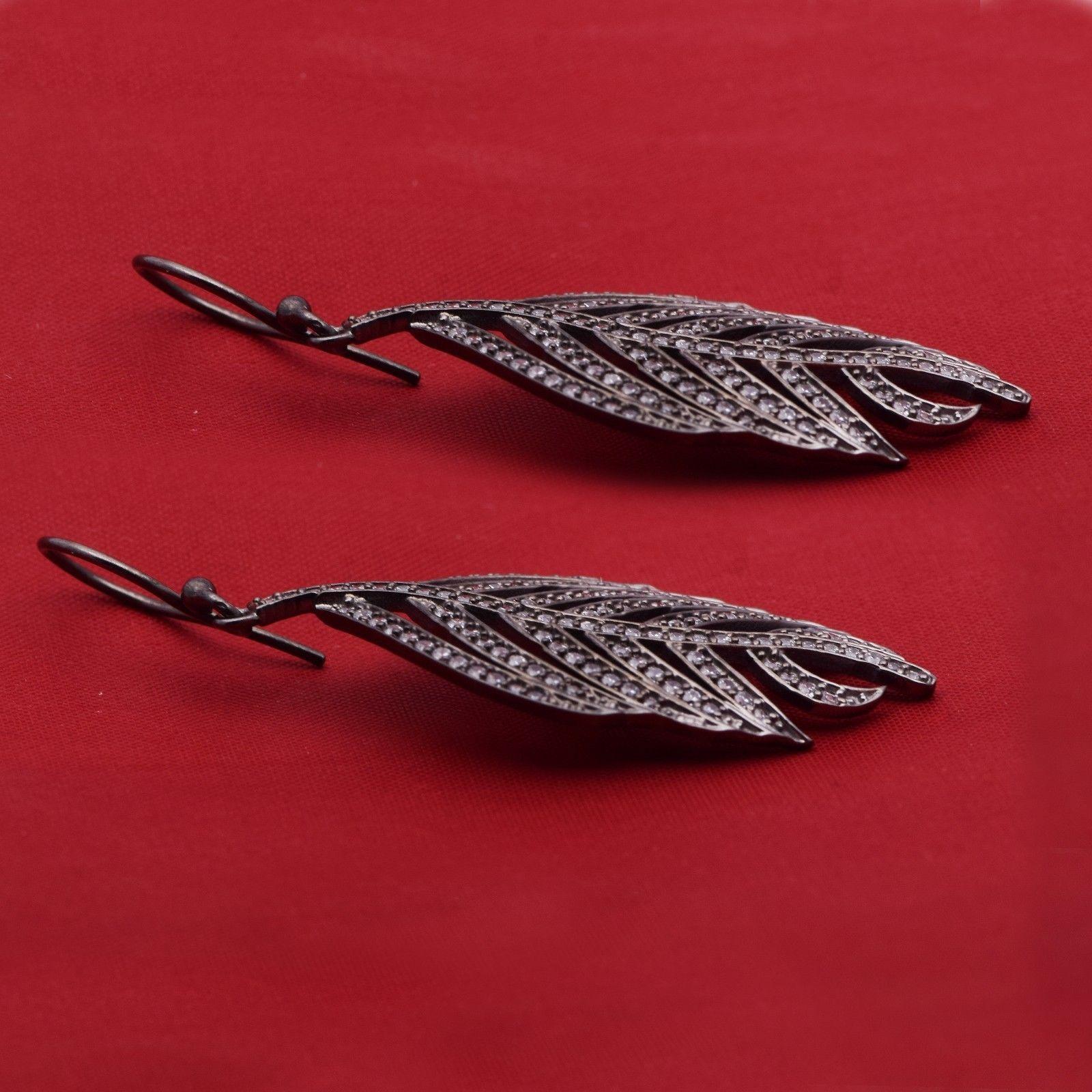 Leaf Cubic Zirconia Gemstone 925 Sterling Silver Earring Shine Jewelry SHER0765