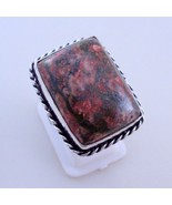 Ring Size 8.5 Red Jasper Silver Overlay Handmade Ring Jewelry 11 Gr. Oj-... - $4.94
