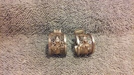 Vintage Bartek signed 1950s Gold/silver tone clip on earrings very uniqu... - $24.99