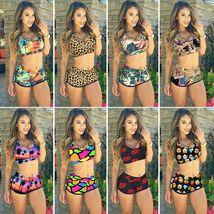 Womens Floral Bikini Set Crop Top High Waist Short Summer Bathing Suit Swimsuit image 6