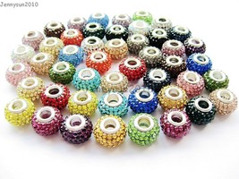 10pcs Top Quality Czech Crystal Rhinestones Beads Fit European Bracelet ... - $5.13+