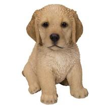 Cute Fluffy Golden Retriever Puppy Statue Life Like Pup Glass Eyes - $24.74