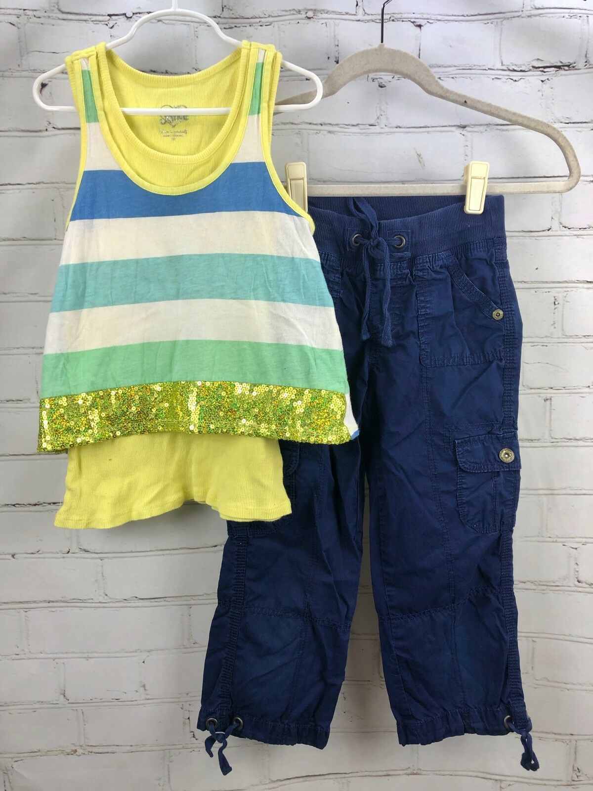 Primary image for Justice Outfit Set - Layered cotton Tank Top + Roll Up Capri Pull On Pants Sz 10