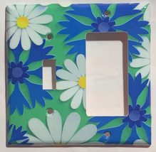 Blue White Flowers patterns Light Switch Outlet wall Cover Plate Home Decor image 3