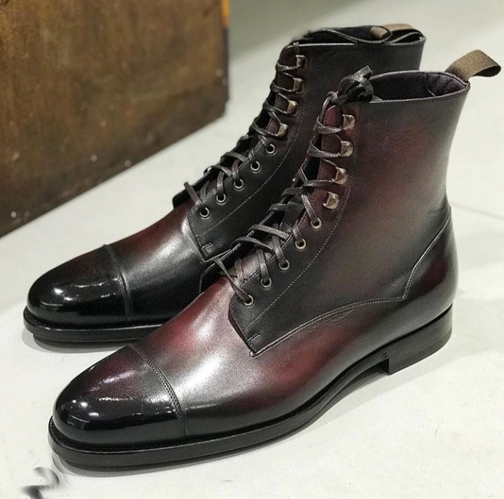 Primary image for Burnished Maroon Color High Ankle LaceUp Premium Leather PartyWear Cap Toe Boots