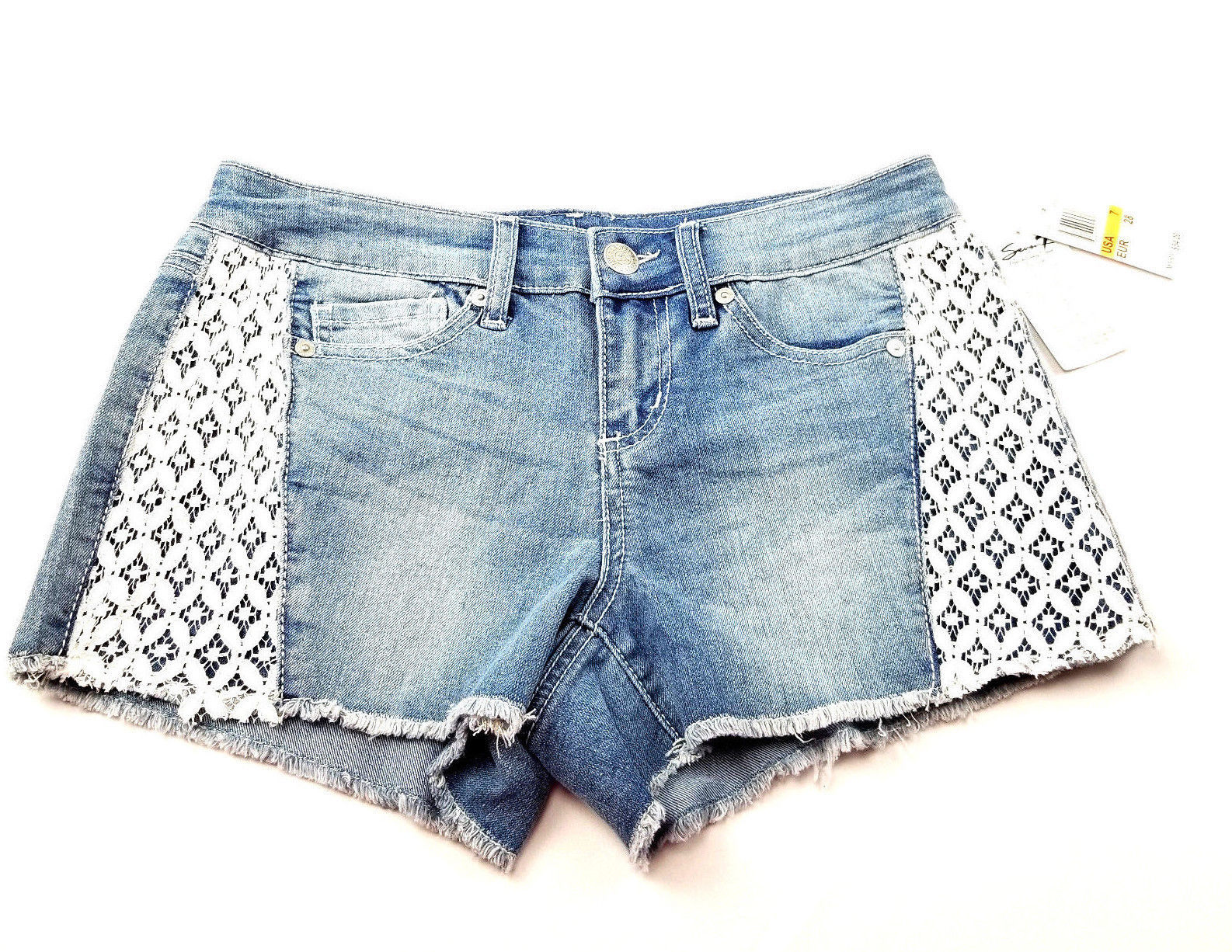 Seven7 Womens Jeans Shorts Size 7 Lace Detail NEW