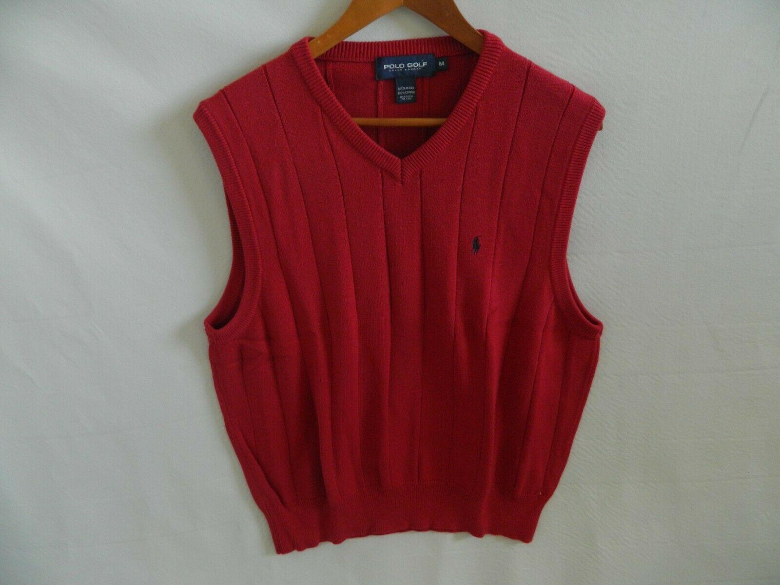 Polo Golf Ralph Lauren Mens Red 100% Cotton Sweater Vest Blue Pony Size M USA!