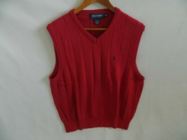Polo Golf Ralph Lauren Mens Red 100% Cotton Sweater Vest Blue Pony Size ... - $31.99