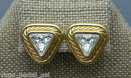 VTG Swarovski Signed Clear Rhinestone Gold Toned Triangle Clip Earrings!! - $49.50