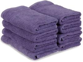 8-pc Royal Purple Superior 600 GSM Long Staple Cotton Hand Towel Set image 1
