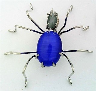 Primary image for Blue Cat Eye Spider Stainless Steel Wire Wrap Brooch 18