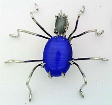 Blue Cat Eye Spider Stainless Steel Wire Wrap Brooch 18 - $28.97