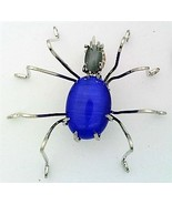 Blue Cat Eye Spider Stainless Steel Wire Wrap Brooch 18 - $28.97