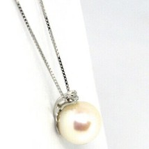 18K WHITE GOLD NECKLACE AKOYA PEARL 8.5 MM AND DIAMOND, PENDANT & VENETIAN CHAIN image 2