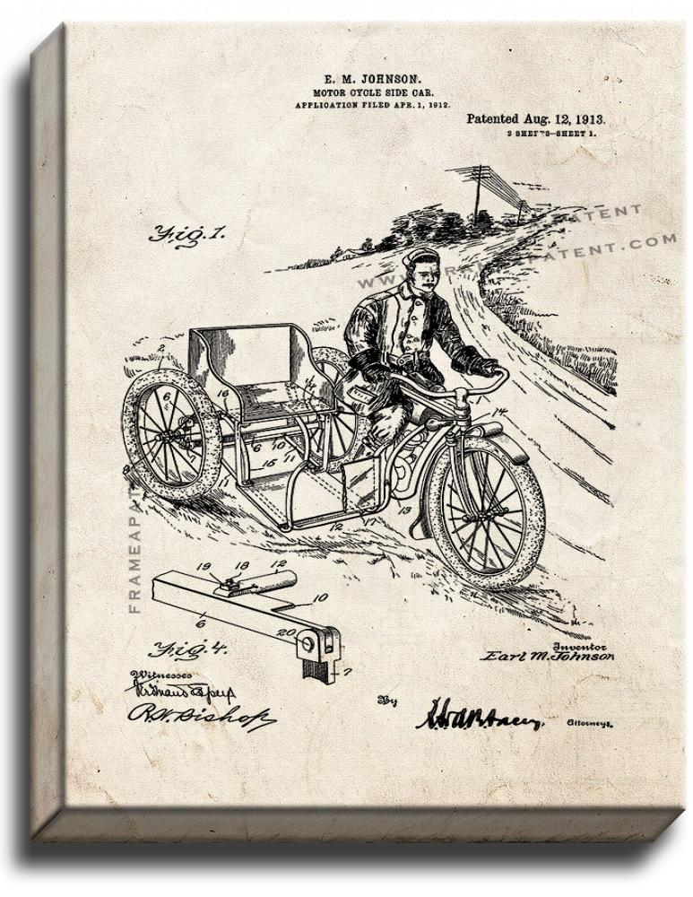 Primary image for Motorcycle Side Car Patent Print Old Look on Canvas