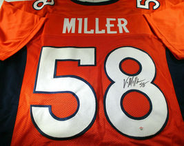 VON MILLER / AUTOGRAPHED DENVER BRONCOS ORANGE CUSTOM FOOTBALL JERSEY / COA