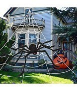 """Halloween Spider Web With 59"""" Giant Spider Outdoor Yard Decorations - $33.70"""