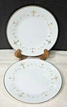 Noritake Courtney #6520 1964-1980 Gold White Scroll Bread Butter Cake Plate 2PC  - $14.85
