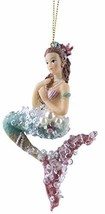 Gnz Elegant Mermaid Christmas/Everyday Ornament w/Faux Pearls & Glitter Aqua - $14.11