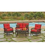 4-Piece Beacon Cappuccino Resin Wicker Patio Loveseat, Chairs & Table Fu... - $1,486.48