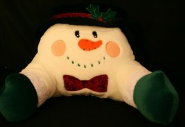 VTG 2002 Commonwealth Snowman Plush Backrest Bed Pillow W/Arm Rest & Poc... - $74.95