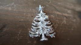 Vintage Silver Iridescent Christmas Tree Rhinestone Brooch 4.5cm - $17.81