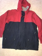 NAUTICA ~ Men's Navy Blue Red Fleece Lined Coat Jacket Hood ~ XL - $25.23