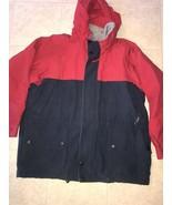 NAUTICA ~ Men's Navy Blue Red Fleece Lined Coat Jacket Hood ~ XL - $25.23