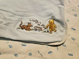 Classic Winnie Pooh Baby Blanket Blue My Favorite Game is One With You T... - $49.48