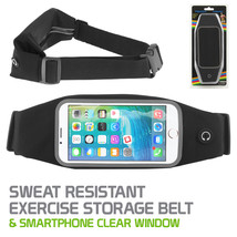 Sweat Resistant Exercise Running Storage Belt with Clear Window for Smar... - $13.49