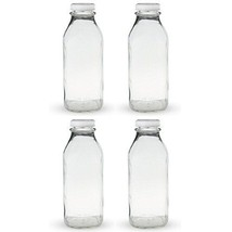 The Dairy Shoppe 1 Qt Glass Milk Bottle with Cap 4 Pack Square Style 32 Oz - $21.92