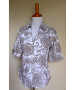 COLDWATER CREEK ~ SMALL 6 8 WHITE BROWN PAISLEY BUTTON BLOUSE TOP - $12.00