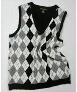"MARINA LUNA Black White Gray MERINO WOOL ARGYLE Pullover V-Neck Vest L 38"" - $26.99"