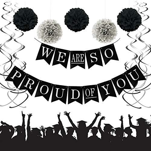 We Are So Proud of You Graduation Banner, Black and Silver Graduation Party Supp